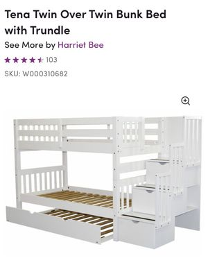 Twin over Twin bunk Bed with Trundle for Sale in Portland, OR