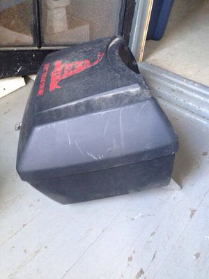 Matte black and plastic motorcycle trunk with mounting brackets for Sale in Skokie, IL