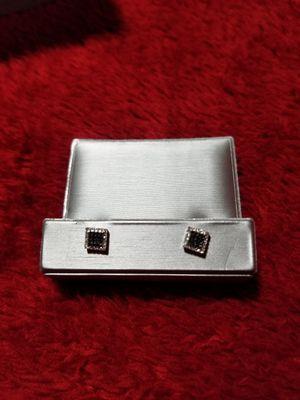 1/7 CT. T.W. Enhanced Black and White Diamond Square Stud Earrings in 10K White Gold for Sale in Chandler, AZ