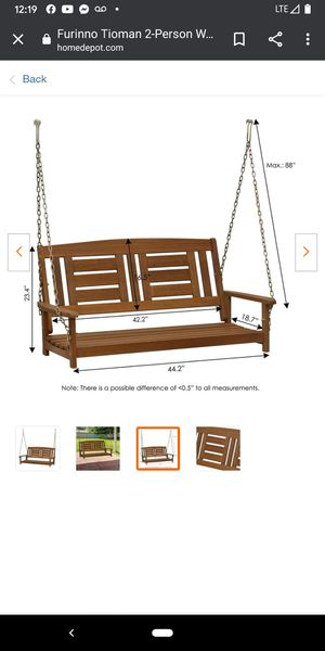 Furinno FG16409SC Tioman Hardwood Hanging Porch Swing, 2 for Sale in Las Vegas, NV