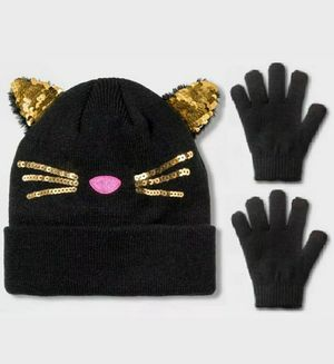 Girls Cat Ears Winter Beanie and Gloves Set Warm and Cozy/Gorrito para niña con guantes for Sale in Imperial, CA