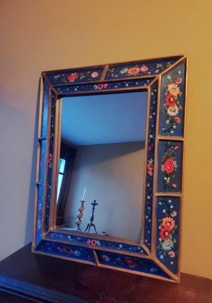Antiques Primitive Peruvian Wood Wall Mirror Reverse Painting for Sale in Cincinnati, OH