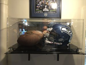 Signed Sean Alexander helmet and football and case for Sale in Maple Valley, WA