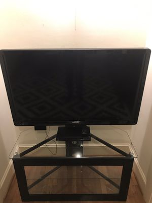 Glass & Black Metal TV Stand for Sale in Portland, OR