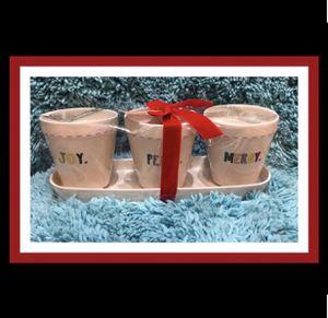 "Rae Dunn ""Joy"" ""Peace"" & ""Merry"" Set of 3 Flower Pot/Planters W/Tray for Sale in Virginia Beach, VA"