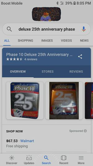 Phase 10 Deluxe 25th Anniversary Limited Edition Rummy Card Game. Has all cards, 2 decks. Sells for almost $70 at Walmart. for Sale in Salem, VA