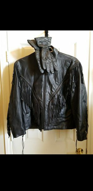 LEATHER MOTORCYCLE JACKET AND LEATHER GLOVES for Sale in Las Vegas, NV