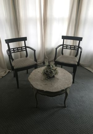 Antique chairs and granite table top in sage green for Sale in Woodbridge, VA