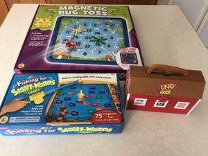 3 Kids Games Bug Toss, Fishing for Words and Uno Moo for Sale in Marysville, OH