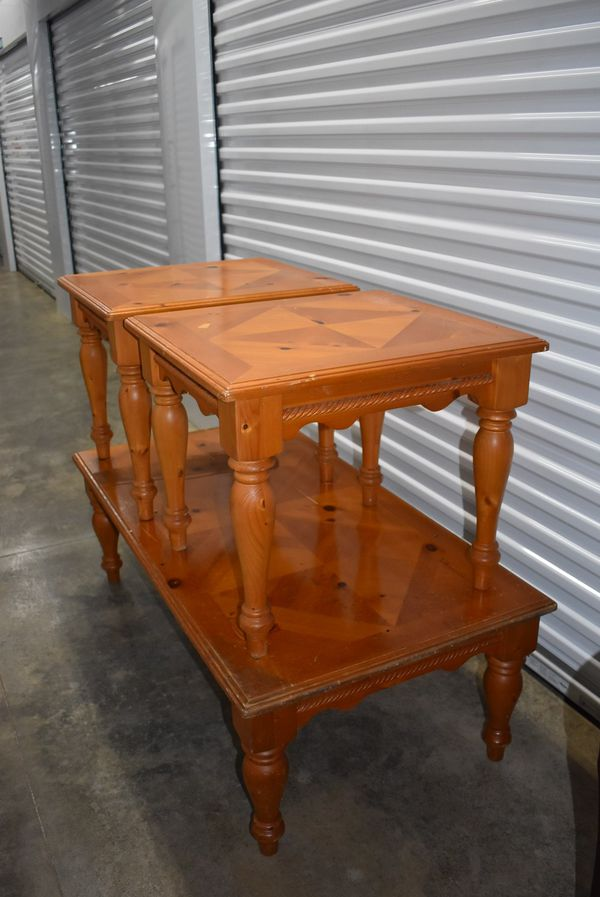 3 Piece Solid Wood Coffee Table Set