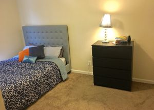 Fancy bed frame plus lamp and dresser for Sale in Washington, DC