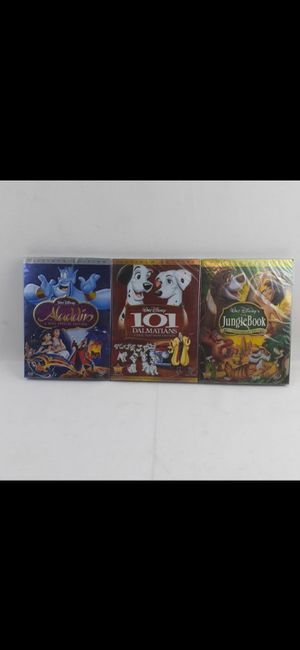 Pack of 3 New Sealed Disney Platinum Edition DVD Aladdin 101 Dalmatians Jungle Book 40th Anniversary for Sale in San Bernardino, CA