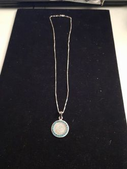 Sterling Silver Necklace with Aztec Calendar Charm with Turquoise Stone for Sale in Mount Rainier,  MD