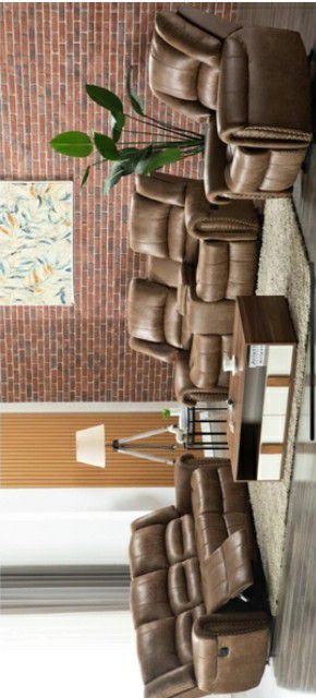 Columbus Day Special- [SPECIAL] Rivercreek Brown 3-Piece Reclining Living Room Set for Sale in Houston, TX