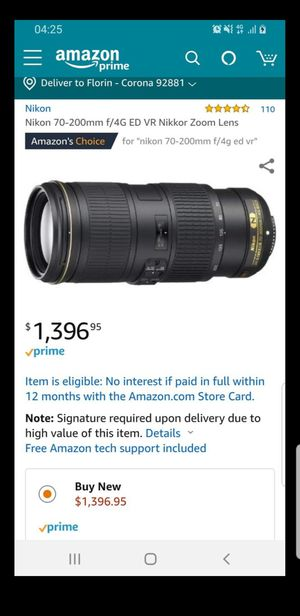 Nikon 70-200mm f/4G ED VR brand new warranty + 2 filters brand new for Sale in Corona, CA