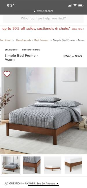 West elm queen bed frame (free queen mattress included) for Sale in San Francisco, CA