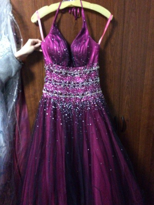 Pink and purple prom dress