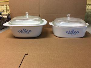 CorningWare Cornflower 4Qt & 5Qt Dutch Oven Casseroles w/glass lids for Sale in New Castle, IN