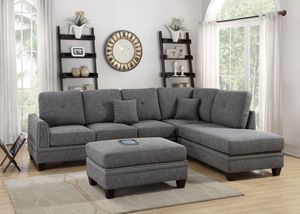 JUST $50 DOWN Grey Mercury sectional sofa and ottoman for Sale in Miami, FL