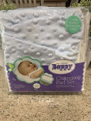 New baby changing table pad set in blue boppy for Sale in Henderson, NV
