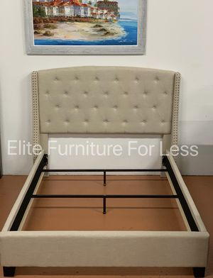 Queen Ivory Wingback Fabric Bed Frame (Available In Grey) for Sale in Chula Vista, CA