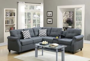 Brand New! Gray Luxury Sectional with Storage & Cup Holders for Sale in Orlando, FL