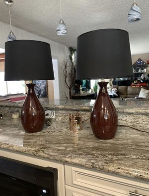Two Like Brand New Elegant Maroon And Black Table Lamps for Sale in Long Beach, CA