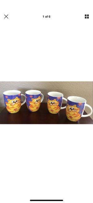 Orange Tabby Cat on Blue Porcelain Mug Set of 4 by Konitz and 1CUP Very nice! for Sale in Phoenix, AZ