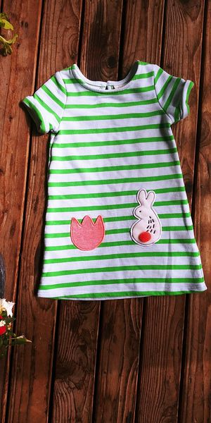 Cat & Jack girls size 3T striped bunny flower sweatshirt material dress for Sale in Tacoma, WA