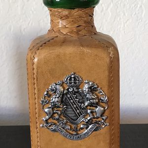 Vintage Leather Wrapped Decanter Whisky Bottle With Stopper Retro Collectible Bar Car Urban Rustic Decor Mid Century Modern Boho Bohemian Farmhouse for Sale in San Diego, CA