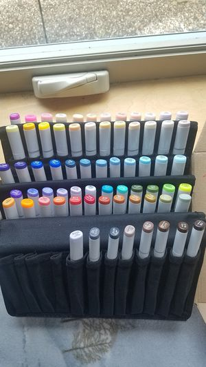 New! SET OF 68 COPIC REFILLABLE MARKERS AND CANVAS FOLDERS for Sale in Eugene, OR