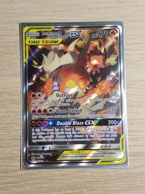 Reshiram & Charzard GX Tag Team, Pokemon card, Mint Sleeved for Sale in Elk Grove, CA