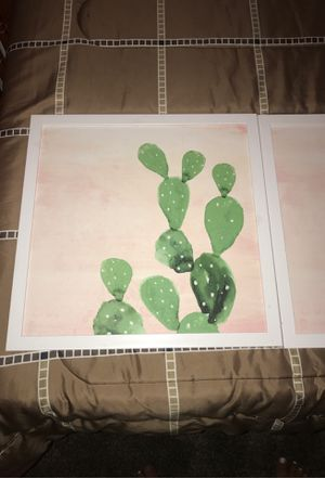 Decorative Cactus picture frames pink and green (2) for Sale in Henderson, NV