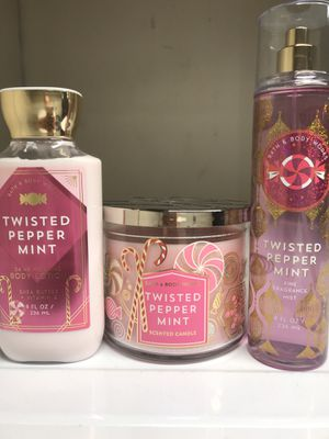 BATH AND BODY WORKS TWISTED PEPPER MINT MIST AND LOTION 3-WICK CANDLE BUNDLE for Sale in Redondo Beach, CA