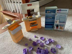 Miniature kitchen set for Barbie dolls toys for Sale in Alexandria, VA