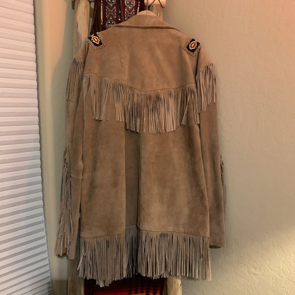 Suede Leather Men's XL Jacket with Beaded Accents