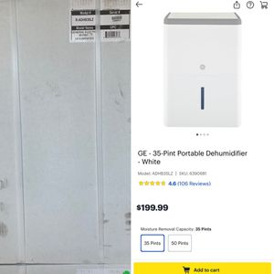 GE - 35-Pint Portable Dehumidifier - White Model:ADHB35LZ for Sale in Inkster, MI