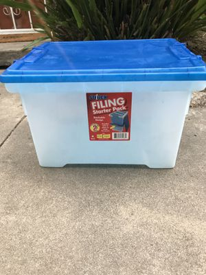 File cabinet storage with blue lid for Sale in Vista, CA