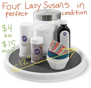 """Four 12"""" Lazy Susans / Turntables - kitchen cabinet or bathroom organizers for Sale in Seattle, WA"""
