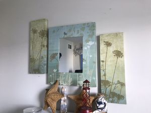 Set of 3 Floral Nature Wall Mirror Blue & Green Perfect for Nautical, Ocean or Beach Decor for Sale in Plainfield, IL