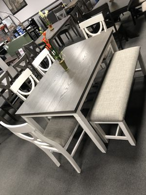 Gray White Dining Table Set w/ Bench for Sale in Fresno, CA