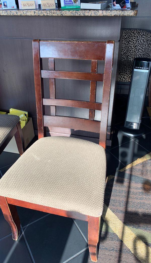 Walnut brown ladder back wooden chair
