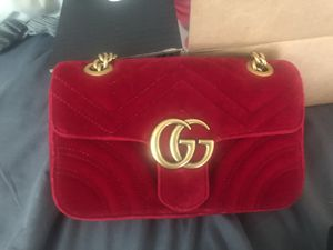 Authentic Red Velvet Gucci Mermont Mini Bag for Sale in UPR MARLBORO, MD