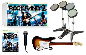 Rockband 2 set with game disc, drum set, microphone, and 2 guitars for xbox 360 for Sale in Alexandria, VA