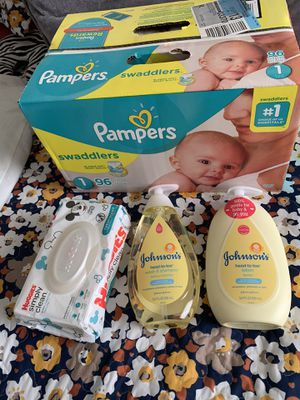 Caja de pampers ,wipes,shampo y crema para bebe,set welcome baby diapers for Sale in Houston, TX