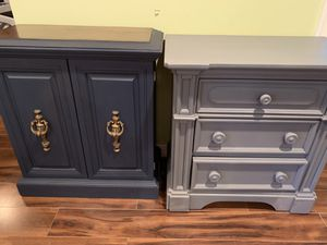 Refinish vintage accent cabinet table and refinished solid wood three drawer gray nightstand for Sale in Crofton, MD