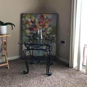 İron coffee table, iron 5-candle holder, and glass Vase ,chart for Sale in Spring Hill, TN