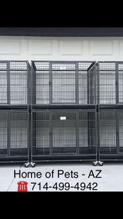 Brandnew set of six stackable heavy duty 37 inch Kennels with plastic trays and wheels 🐶 please see each cage dimensions in second picture 🐶 for Sale in Phoenix,  AZ