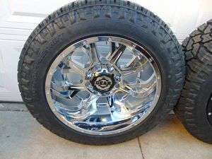 New LT 285 55 20 Nitto Exo Grappler 10PLY Tires & Chrome 20X12 Rims for Sale in Aurora, CO