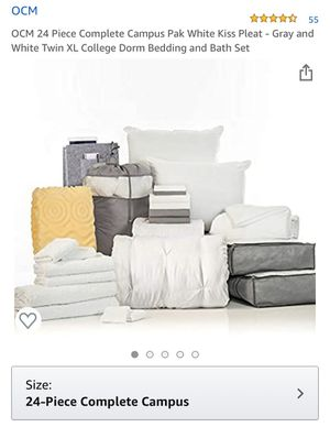 OCM 24 Piece Complete Campus Pak White Kiss Pleat - Gray and White Twin XL College Dorm Bedding and Bath Set for Sale in Santa Fe Springs, CA